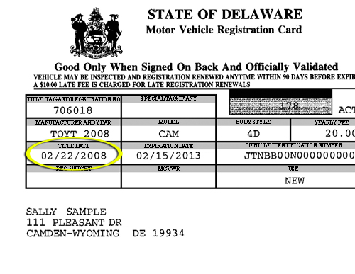 State Of Delaware Division Of Motor Vehicles